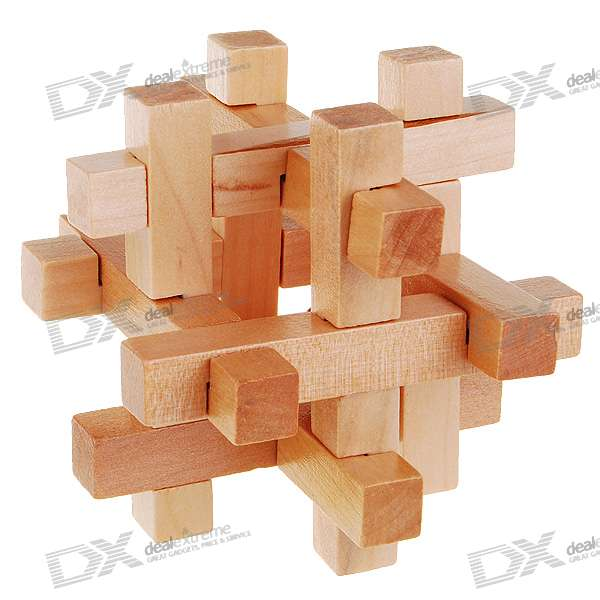 Bead-in-Cage Wooden Puzzle Brain Teaser IQ Toy