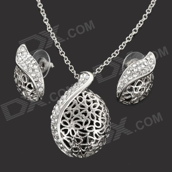 Alloy Plating 18K Glod Czech Diamond Necklace + Earrings Set - Silver bob dylan cd the complete album collection 47 cds classical music box set free shipping chinese factory new sealed version