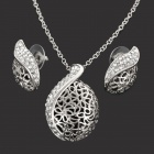 Alloy Plating 18K Glod Czech Diamond Necklace + Earrings Set - Silver