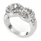 Alloy Plating Rhinestone Finger Ring - Platinum