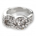 Legering Plating Rhinestone Finger Ring - Platinum