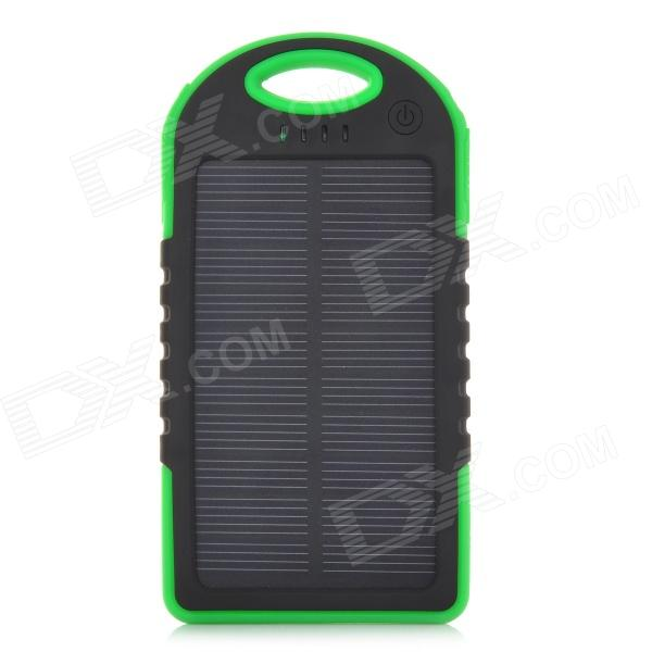 Portable 5V 5000mAh Solar Charger - Green + Black