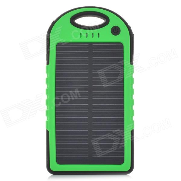 LSON Portable 5V 5000mAh Solar Charger w/ Dual USB / LED Indicator - Green + Black duracell usb portable charger 5 hour 1800mah