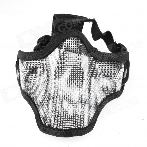 CM01 Skull Style Half Face Wire Mesh Mask - Black airsoft adults cs field game skeleton warrior skull paintball mask