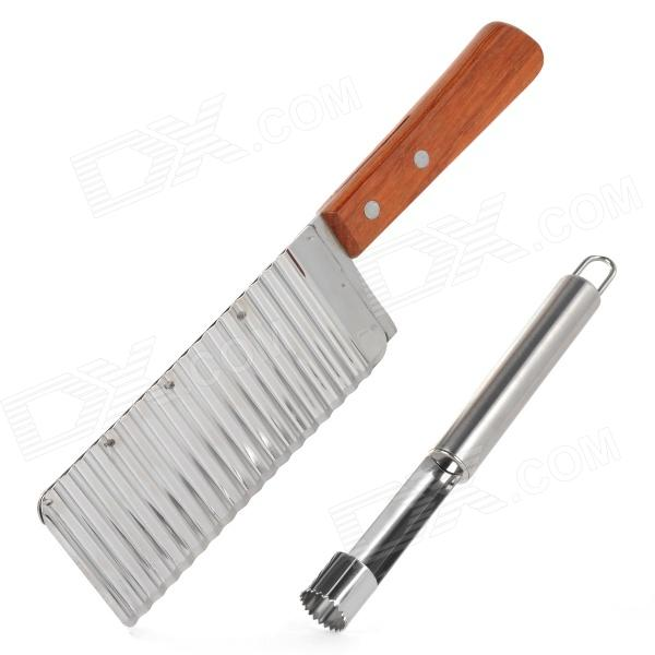 Stainless Steel French Waves Knife + Fruit Seeder Set (2 PCS)