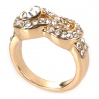 Alloy Plating Gold Rhinestone Finger Ring - Golden