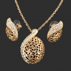 Alloy Plating 18K Glod Czech Diamond Necklace + Earrings Set - Golden