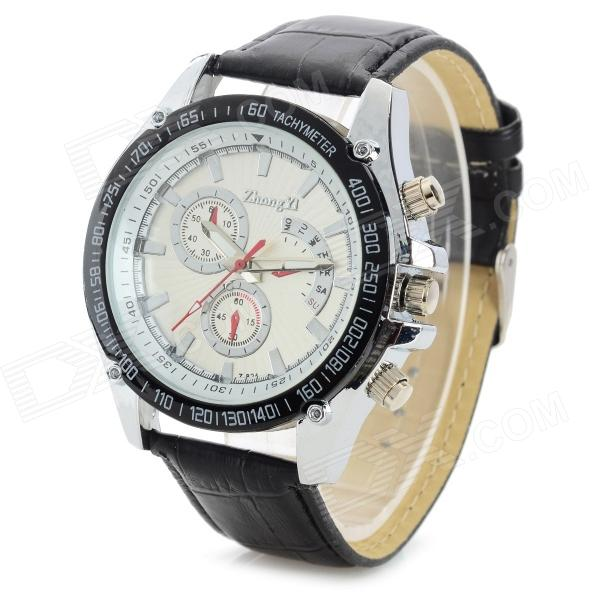 Zhongyi 824 Fashionable Men's PU Wristband Watch Analog Quartz Wrist Watch - Black + White (1 x 626)