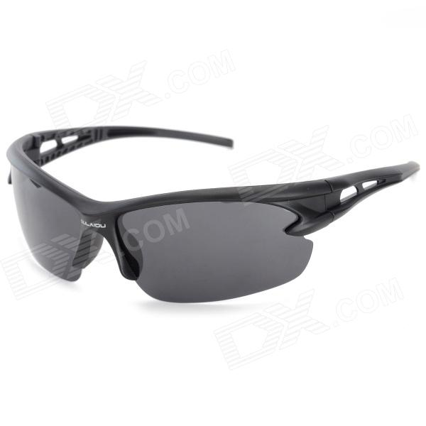 Oulaiou Windproof UV Protection TAC Lens PC Frame Polarized Cycling Goggles - Grey + Black