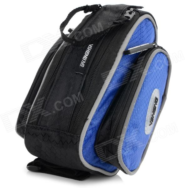 Stylish Bicycle Front Tube Bag w/ Rain Cover - Black + Blue
