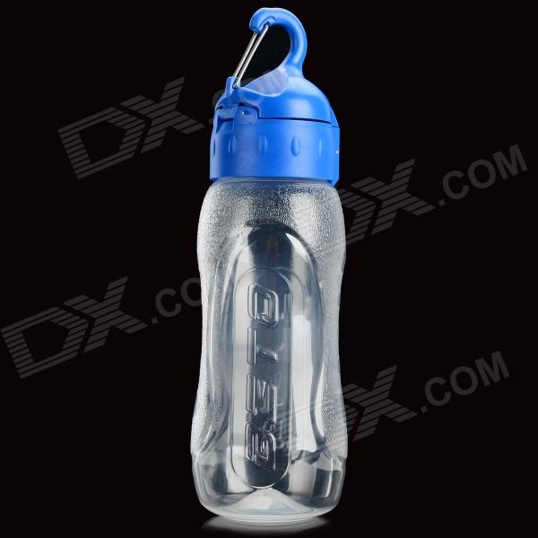 BETO WB-217 Portable Bike Cycling PP Water Bottle w/ Carabiner - Transparent + Blue (650ml)