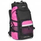 LOCAL LION Outdoor Travel Nylon Backpack Bag - Pink + Black (45L)