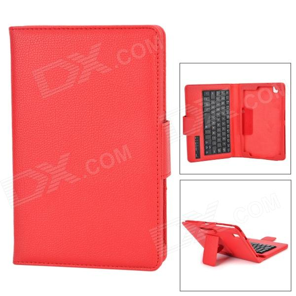 Protective PU Case w/ Detachable USB Bluetooth V3.0 59-Key Keyboard for Samsung Tab Pro T320 - Red 10 detachable bluetooth 84 key keyboard case w holder for samsung t520 black