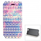 Geometric Pattern Flip-open PU Case w/ Auto Sleep + Holder + Card Slot for IPHONE 5 - Multicolored
