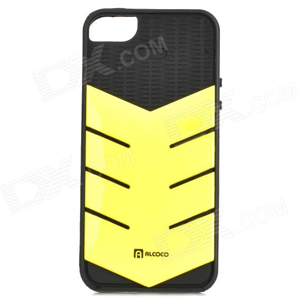 AILEN SJ01 Protective TPU + PC Back Case w/ Card Slot for IPHONE 5 / 5S - Black + Fluorescent Yellow protective pc tpu back case for iphone 5 w anti dust cover lavender purple