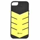 AILEN SJ01 Protective TPU + PC Back Case w/ Card Slot for IPHONE 5 / 5S - Black + Fluorescent Yellow