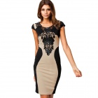 Cotton + Dacron Bodycon Backless Embroidered Short-sleeved Dress - Black + Off-White (M)