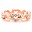Style élégant Diamante Heart to Heart en forme de bague - or Rose (U.S 7,9)