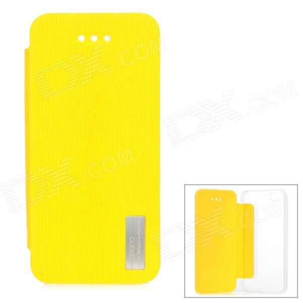 MCDODO Stylish Flip-open PU + Plastic Case for IPHONE 5 / 5S - Yellow + Translucent