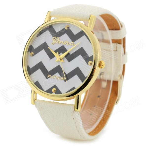 Woman's Stylish Geometrical Pattern Analog Quartz Wristwatch - White (1 x 377)