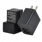 2-Battery + Dual-Slot Charger for GoPro AHDBT-201/301 / GoPro AHDBT-201 / 301 - Black