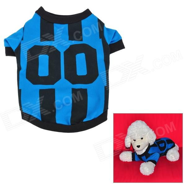 QY Sports Uniform Style Pique Fabric Short-sleeve Shirt for Pet Dog - Blue + Black (M)