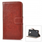 Buy Protective PU Leather + Plastic Case Card Slots / Foldable Stand Samsung Galaxy S5 - Brown