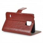 Protective PU Leather + Plastic Case w/ Card Slots / Foldable Stand for Samsung Galaxy S5 - Brown