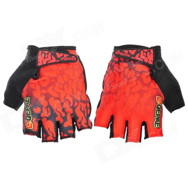 Qepae 043A Outdoor Cycling Lycra + Velvet + Silicone Half-finger Gloves - Black + Red (XL / Pair)