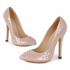 A1133 Women's Stylish Stiletto Heels w/ Rivet Party Shoes - Apricot (Size 36)