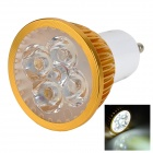 JRLED JR-LED-GU10-4W-W GU10 350lm 6300K 4-LED White Light Spotlight - Golden + White (AC 85~265V)