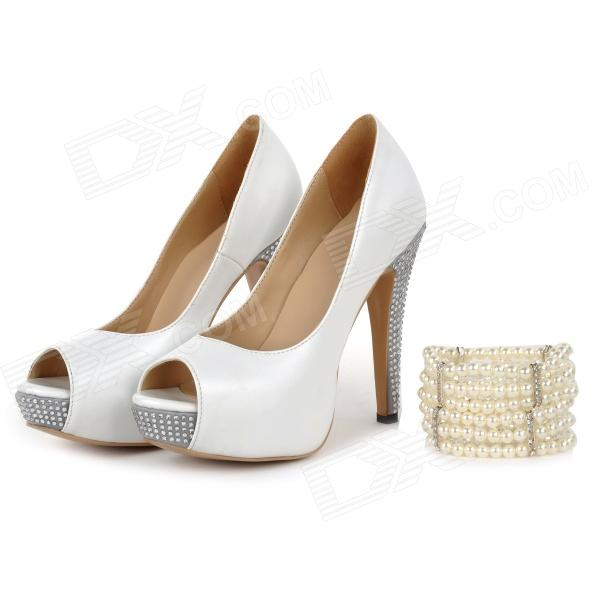 Women's Peep-toe Stiletto Heel Platform Pumps Heels Rhinestone Shoes w/ Pearl Jewel - White (36) connector plug 90 degree left right up down usb male to female angled l shaped adaptors usb extension adapter