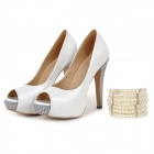 Women's Peep-toe Stiletto Heel Platform Pumps Heels Rhinestone Shoes w/ Pearl Jewel - White (36)