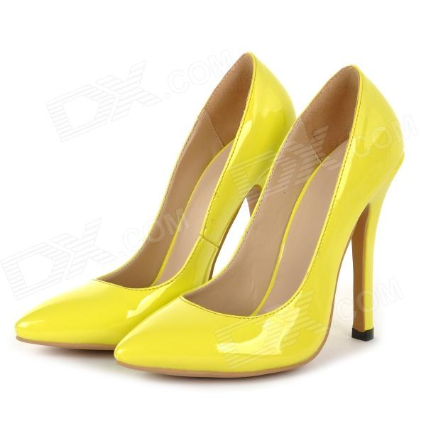 XC11 Women's Japanned Leather Stiletto Heel Pointed Toe Pumps / Heels Shoes - Yellow (36) brand new stiletto high heels sandals gladiator women sexy platform rome style shoes summer ladies open toe buckle pumps fashion
