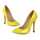 XC11 Women's Japanned Leather Stiletto Heel Pointed Toe Pumps / Heels Shoes - Yellow (36)