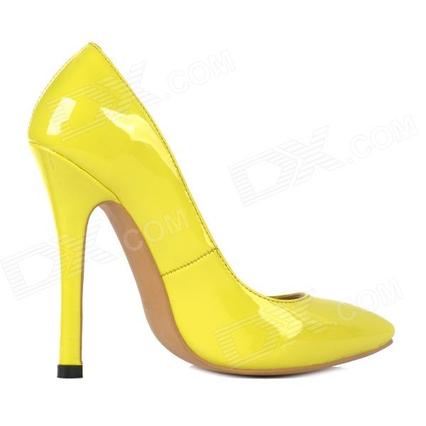Yellow Stiletto Heels - Qu Heel