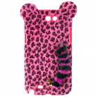 Leopard Pattern Protective Plastic Back Case w/ Tail for Samsung Galaxy Note 2 N7100 - Deep Pink