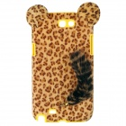 Stylish Leopard Pattern Protective Plastic Back Case w/ Tail for Samsung Galaxy Note 2 - Yellow