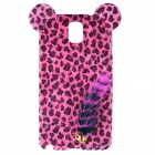 Leopard Pattern Protective Plastic Back Case w/ Tail for Samsung Galaxy Note 3 N9006 - Deep Pink