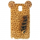 Leopard Pattern Protective Plastic Back Case w/ Tail for Samsung Galaxy Note III / Note 3 - Yellow