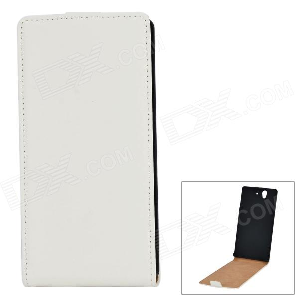 Protective PU Leather Top Flip-Open Case for Sony Xperia Z L36h - White