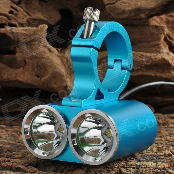 600lm 2-LED Cool White Light 4-Mode Bike Headlamp - Blue (7.4~8.6V)