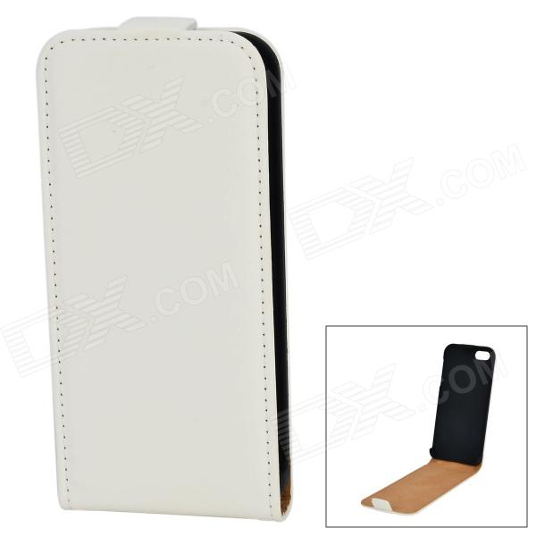 Beskyttende Top Flip-open PU Leather Case for iPhone 5 / 5S - Hvit
