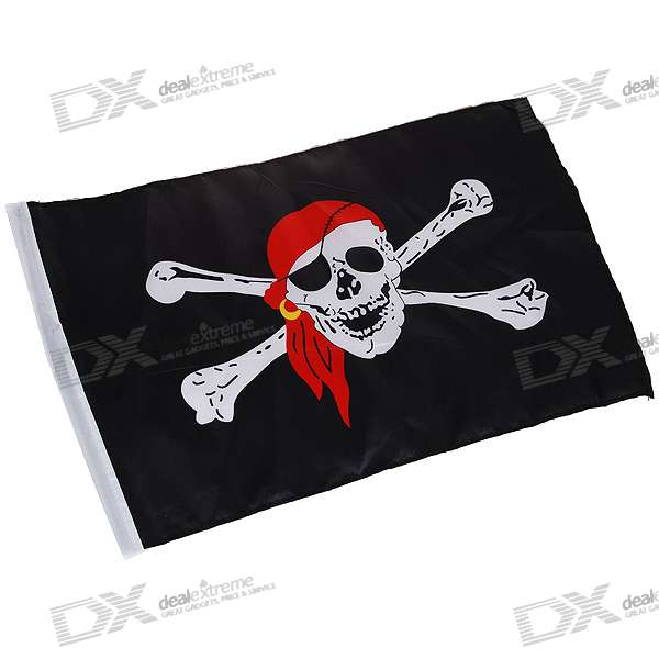 Jolly Roger Pirate Skull and Crossbones Red Scarf Flag (47CM*30CM)