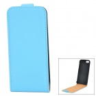Protective Top Flip Open PU Case for IPHONE 5 / 5S - Blue