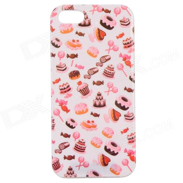Graffiti Sugar Pattern Protective PVC Back Case for IPHONE 5 / 5S - Pink + Brown + Multi-Colored cartoon pattern matte protective abs back case for iphone 4 4s deep pink