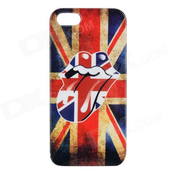 UK Flag Graffiti Mouth Pattern Protctive PVC Back Case for IPHONE 5 / 5S - White + Red + Multicolor suck uk