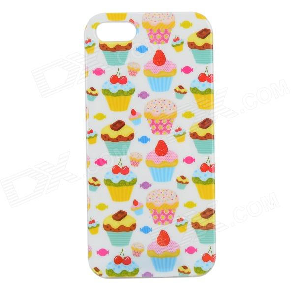 Graffiti Cake Pattern Protective PVC Back Case for IPHONE 5 / 5S - White + Red + Multi-Colored cool graffiti style protective tpu back case for iphone 5 5s white black