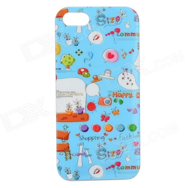 Graffiti Pattern Protective PVC Back Case for IPHONE 5 / 5S - Blue + Red + Multi-Colored texet tm 203
