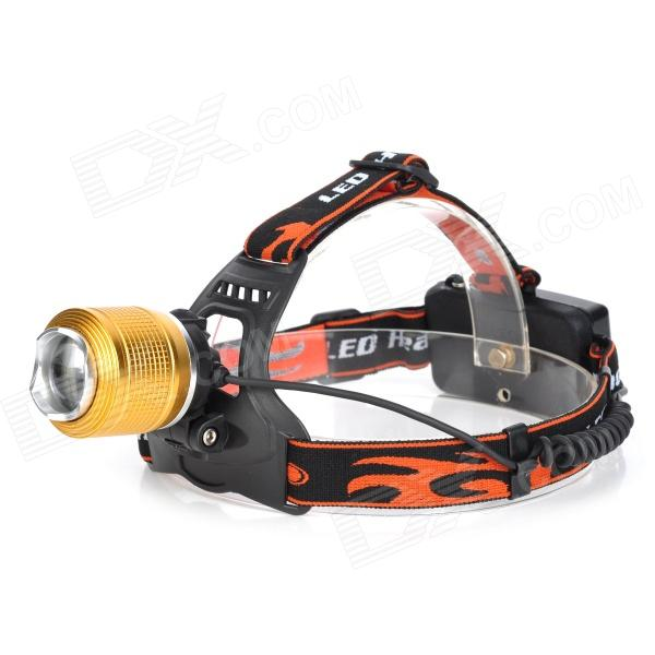 LED 400LM 3-mode Zoom-to-throw Cool White Headlamp - Black + Golden (1 x 18650/2 x 18650) 950lm 3 mode white bicycle headlamp w cree xm l t6 black silver 2 x 18650